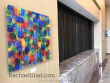 Load image into Gallery viewer, Yellow blue green Multicolor High Gloss Abstract Art with in 4 Square Sizes on wall markham hotel rachael grad