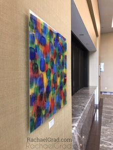 Yellow blue green Multicolor High Gloss Abstract Art with in 4 Square Sizes on wall markham hotel rachael grad etsy side view
