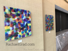 Load image into Gallery viewer, Yellow and Purple Multicolor High Gloss Abstract Art with in 4 Square Sizes preview rachael grad on wall