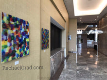 Load image into Gallery viewer, Yellow and Purple Multicolor High Gloss Abstract Art with in 4 Square Sizes outside markham ballroom rachael grad