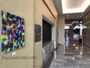 Yellow and Purple Multicolor High Gloss Abstract Art with in 4 Square Sizes outside markham ballroom rachael grad