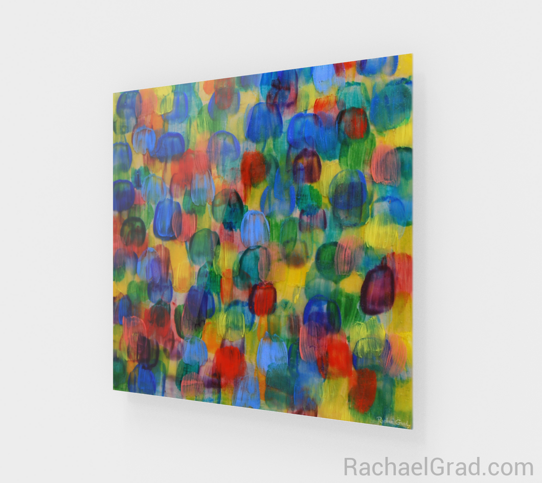 Dot Series Wall Art 2 Yellow and Blue Multicolor-Acrylic Print-rachaelgrad artsy abstract colorful artwork multicolor wall art