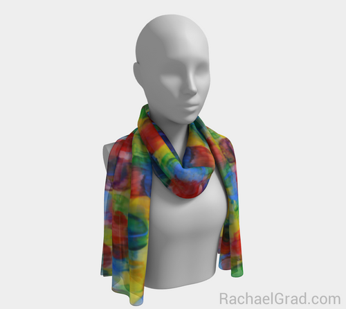 Dot Series 2 Long Scarf-Long Scarf-rachaelgrad-rachaelgrad artsy abstract colorful artwork multicolor