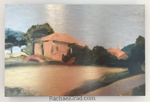Yellow Field and Peach Farmhouse, Provence, France-Art Print-Canadian Artist Rachael Grad
