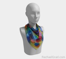 Load image into Gallery viewer, Dot Series 5 Square Scarf Yellow Turquoise-Square Scarf-rachaelgrad-rachaelgrad artsy abstract colorful artwork multicolor