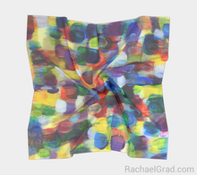 Load image into Gallery viewer, Dot Series 7 Square Scarf Multicolor Yellow and Purple-Square Scarf-rachaelgrad-rachaelgrad artsy abstract colorful artwork multicolor