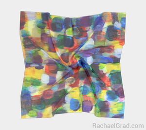 Dot Series 7 Square Scarf Multicolor Yellow and Purple-Square Scarf-rachaelgrad-rachaelgrad artsy abstract colorful artwork multicolor