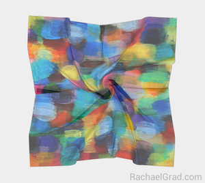 Dot Series 6 Square Scarf Yellow Turquoise-Square Scarf-rachaelgrad-rachaelgrad artsy abstract colorful artwork multicolor
