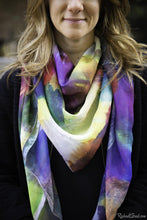 Load image into Gallery viewer, yellow purple art scarf by Artist Rachael Grad on model