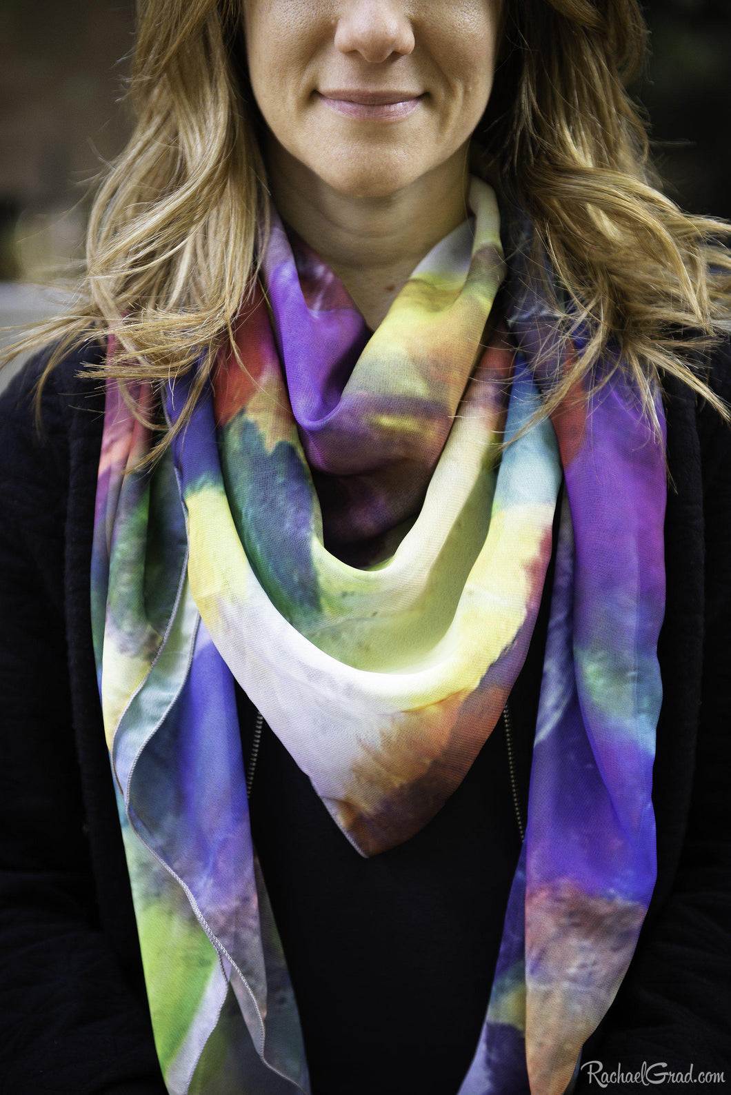 yellow purple art scarf by Artist Rachael Grad on model
