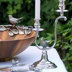 Two Taper Pewter Song Bird Candelabra