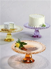 Recycled Glass Cake Platter - Assorted Colors - The Prince's Table  - 3