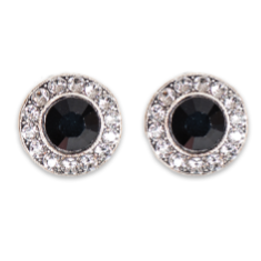 Jet Black and Crystal Stud Earrings