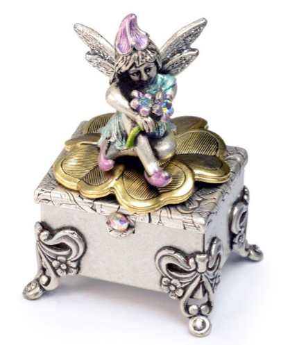 Tooth Fairy Sitting On Footed Box - Silver 🇺🇸