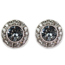 Silver Night Black Diamond Stud Earrings