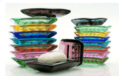 Recycled Glass Soap Dish - Assorted Colors