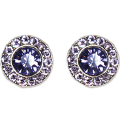 Violet Tanzanite Stud Earrings