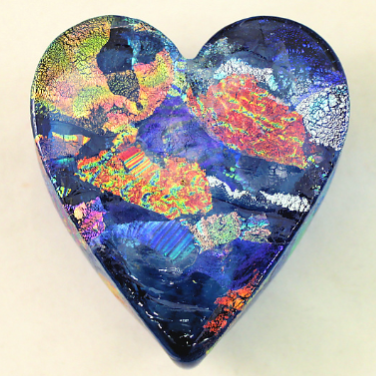 Aqua Dichroic Glass Heart 🇺🇸