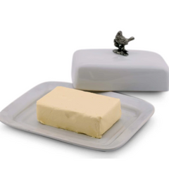 Stoneware Butter Dish and Pewter Song Bird