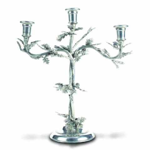 Three Taper Pewter Oak Leaf Candelabrum