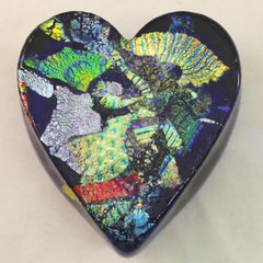 Cobalt Dichroic Glass Heart 🇺🇸