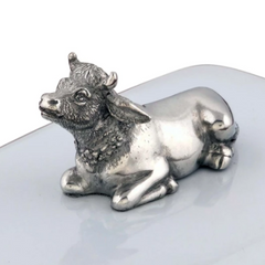 Stoneware Butter Dish with Pewter Cow