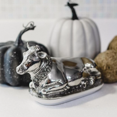 Pewter Cow Butter Dish