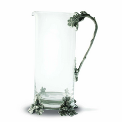 Glass Pitcher Pewter Acorn and Oak Leaf Handle