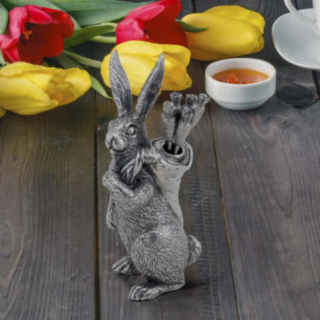 Pewter Rabbit with Carrot Picks