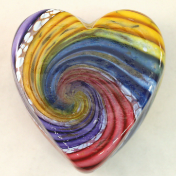Rainbow Swirl Glass Heart 🇺🇸