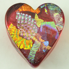 Ruby Dichroic Glass Heart 🇺🇸