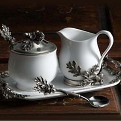 Stoneware Creamer Set - Pewter Acorn and Leaf