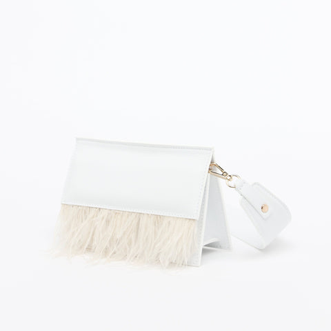 Atelier Batac bridal collection mini shellac feathers crossbody