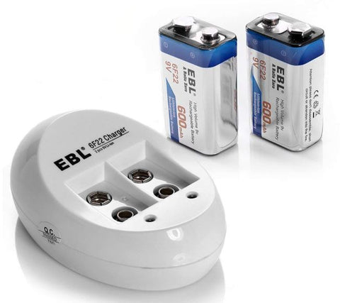 2 Pack of Rechargeable 9 volt Lithium batteries