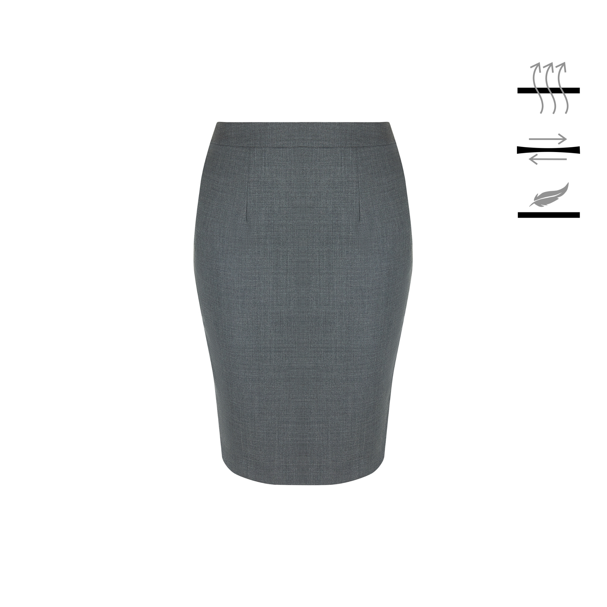Grey pencil skirt finished for unrestricted movement and next-to-skin comfort