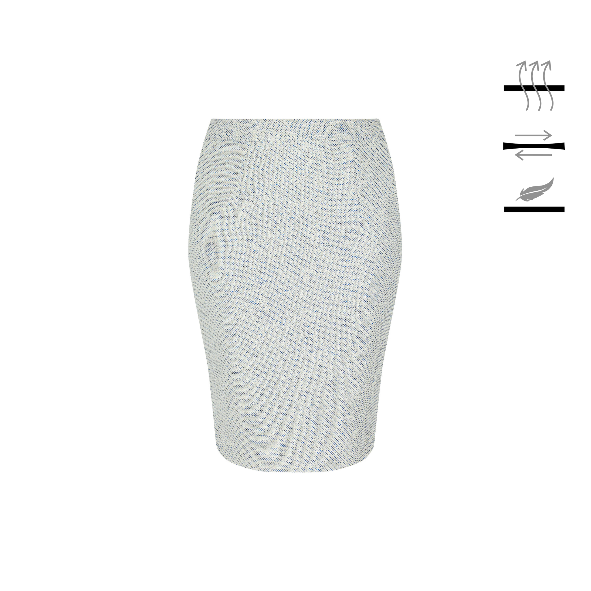 Pencil skirt finished for unrestricted movement and next-to-skin comfort, limited edition white and blue tweed