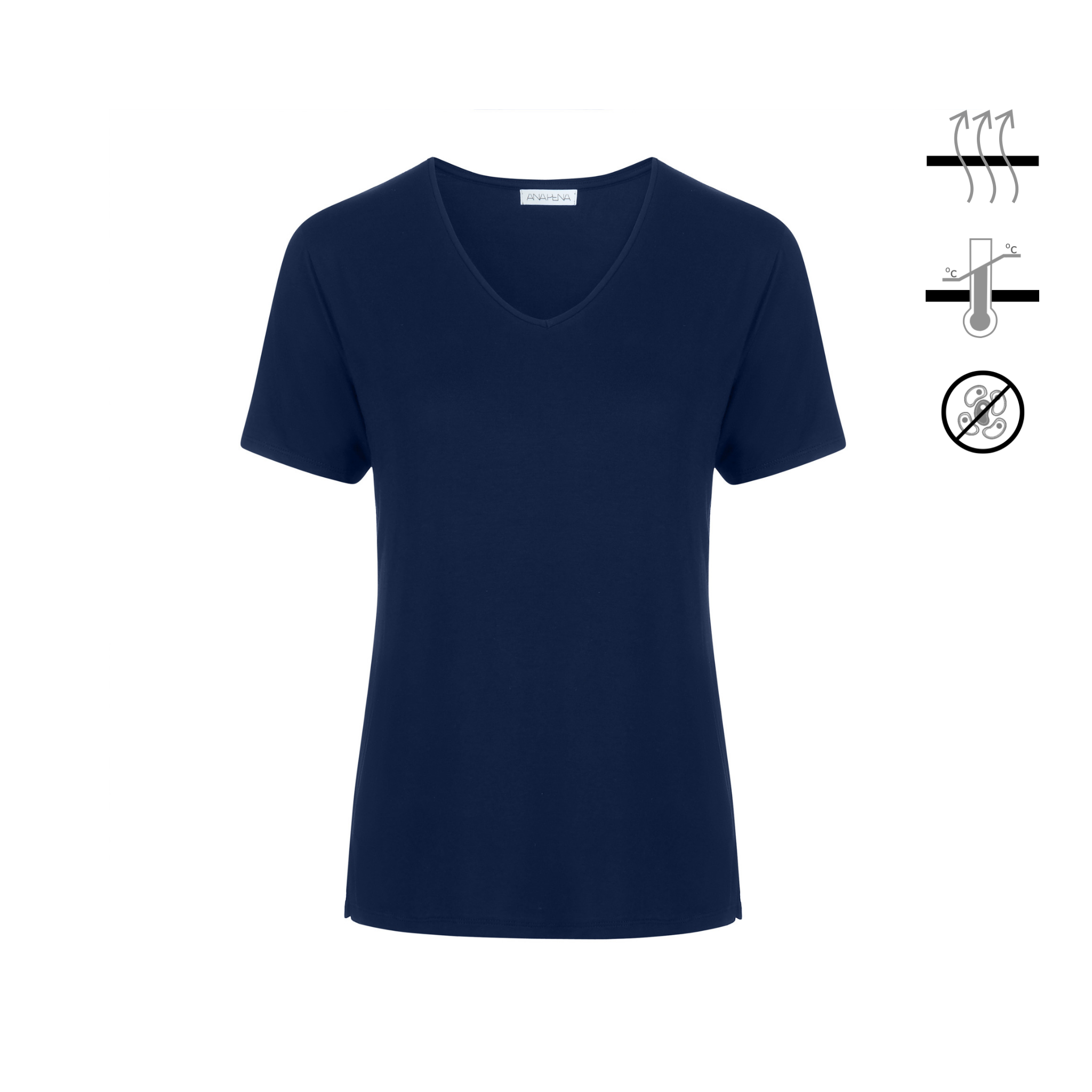 Blue navy short-sleeve t-shirt made of thermo-regulating bamboo