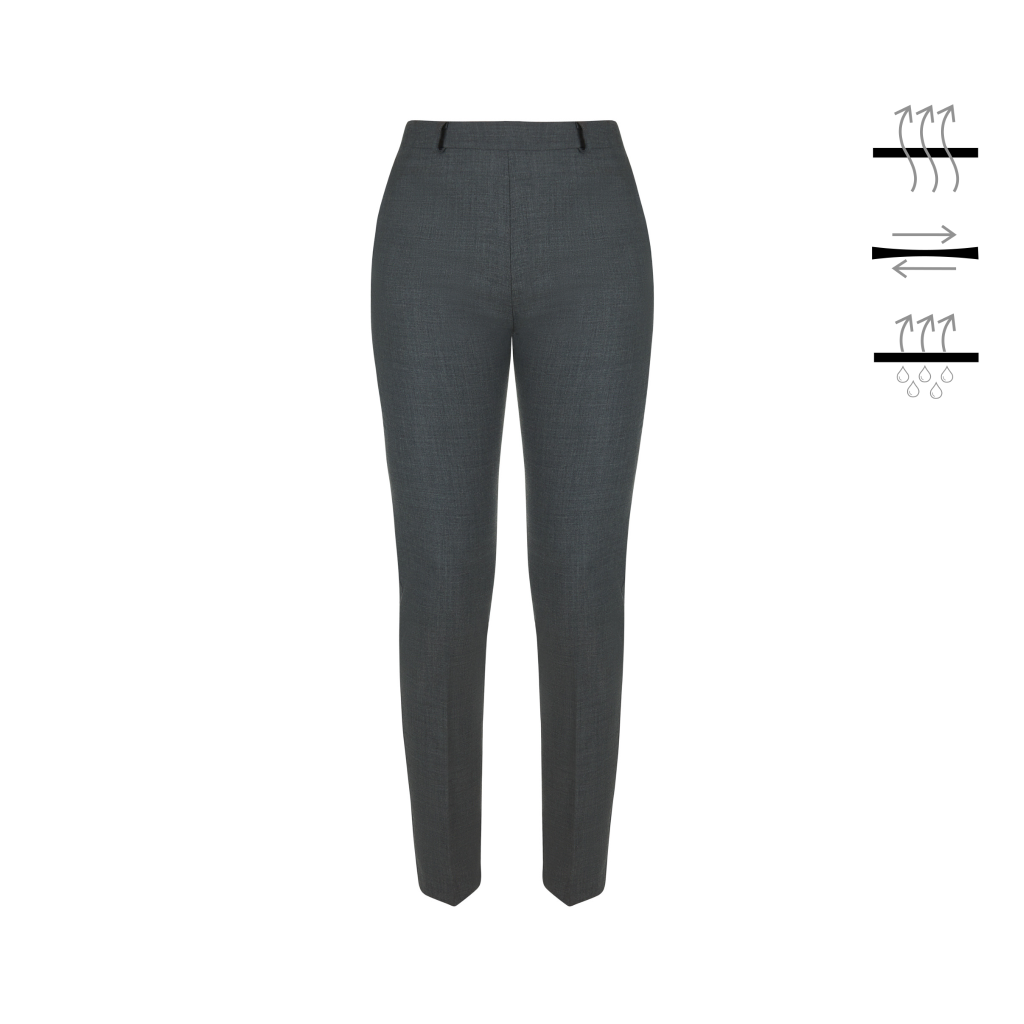 Tailored grey trousers made from stretch premium wool