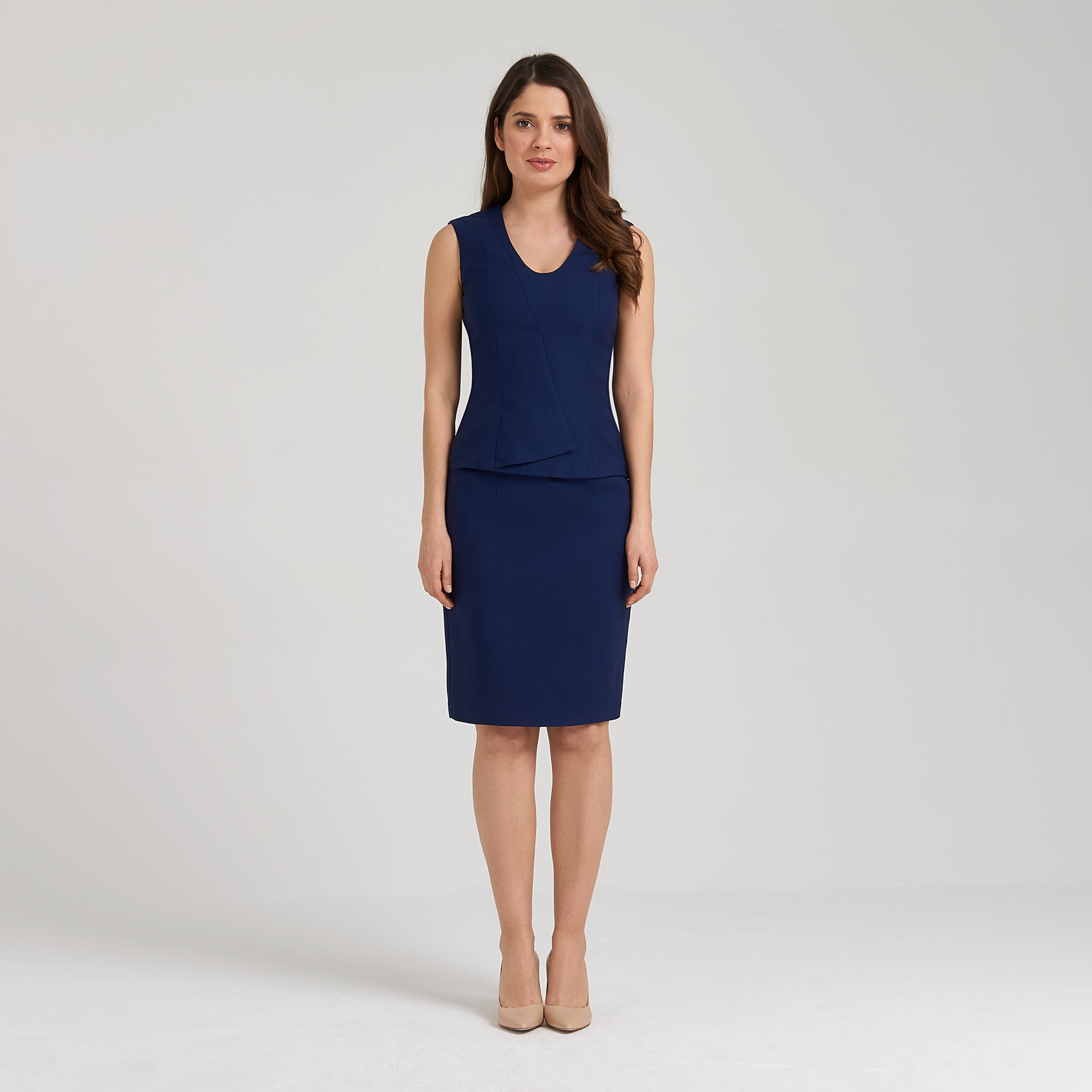 Stretch wool peplum top + pencil skirt, blue