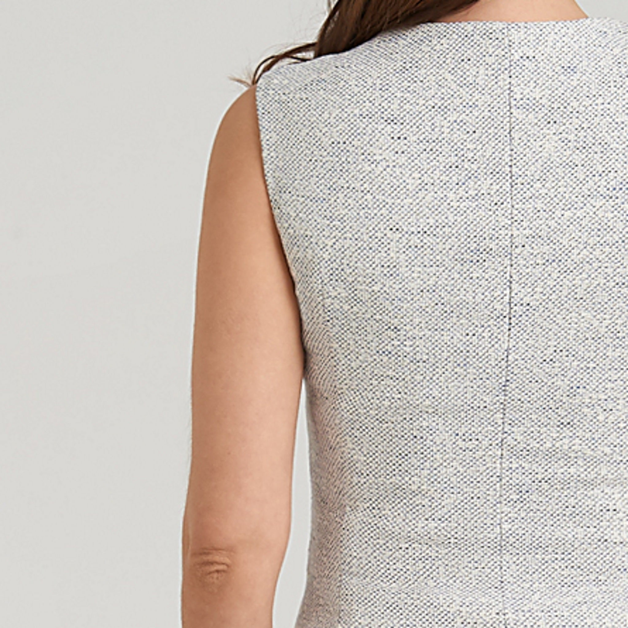 Breathable peplum top, limited edition white and blue tweed