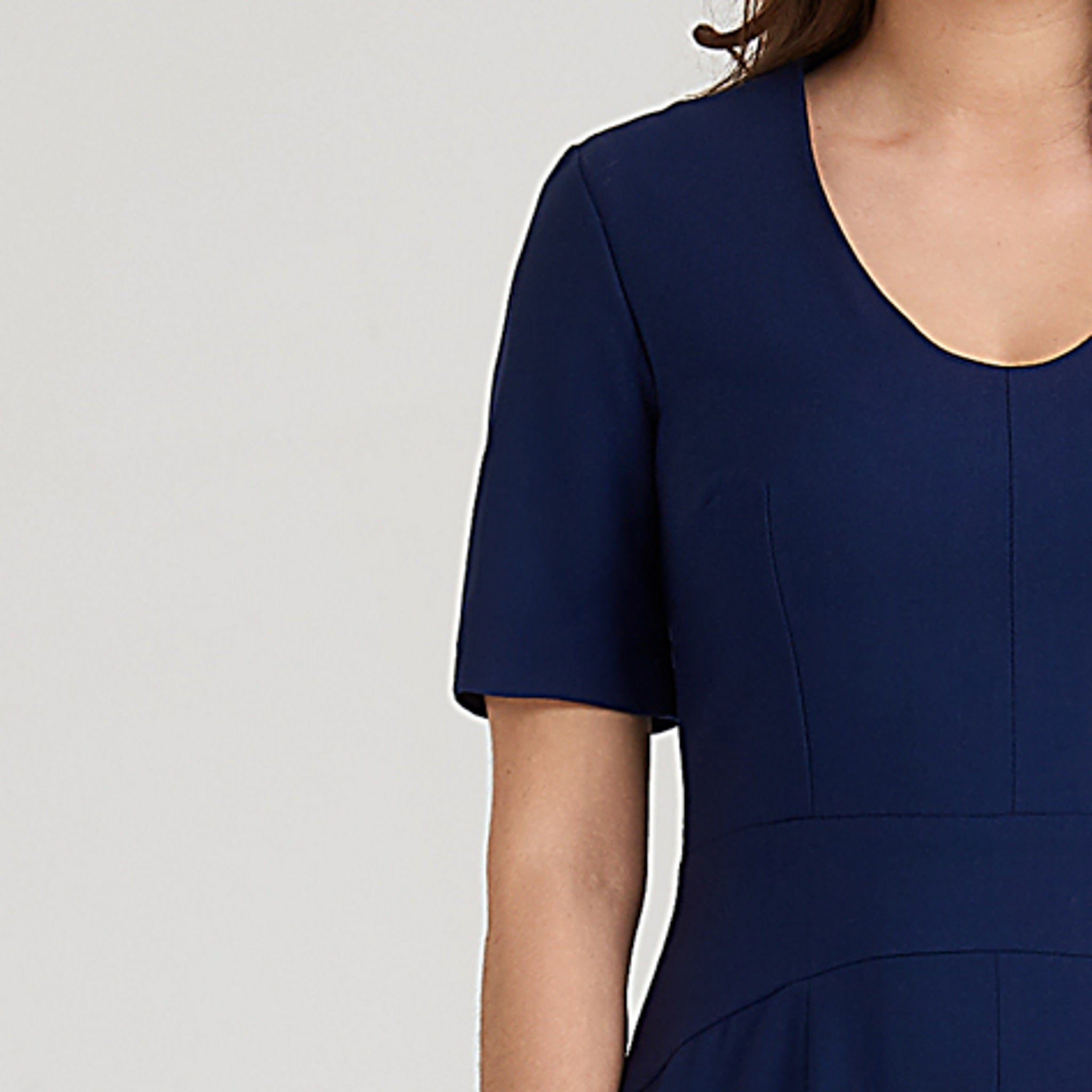 Short-sleeve midi dress with v-neck and a-line skirt made from luxurious stretch wool in blue