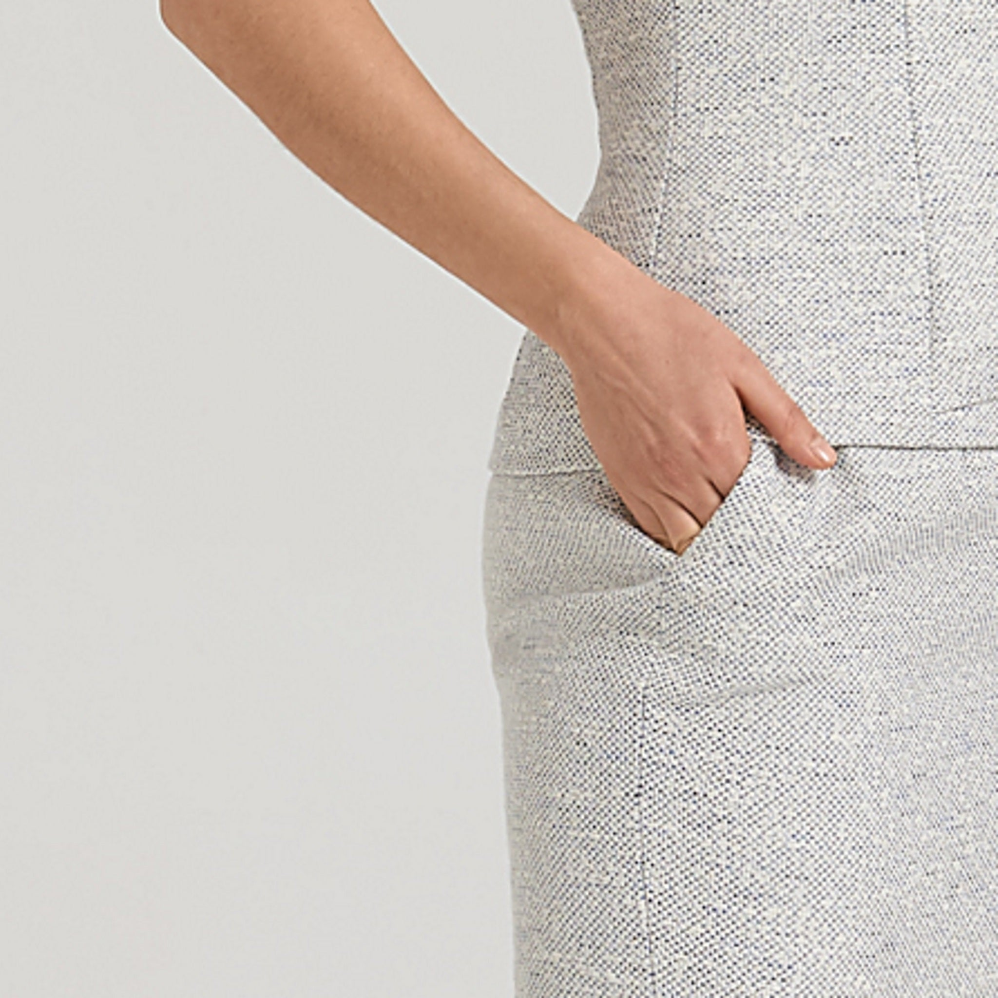 Peplum top + pencil skirt, white tweed