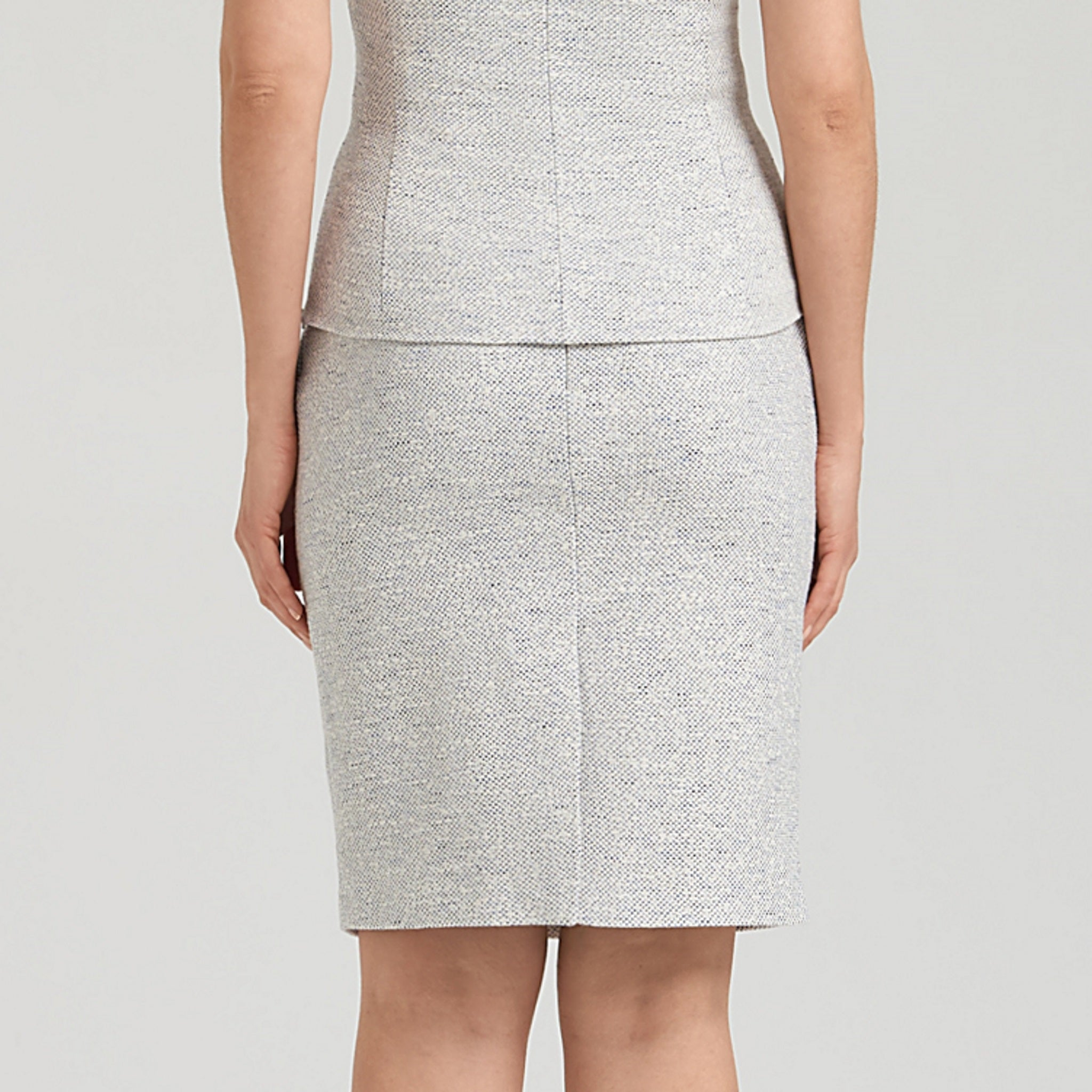 Stretch tweed pencil skirt, white tweed