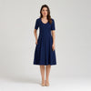 Lightweight short-sleeve midi dress, blue