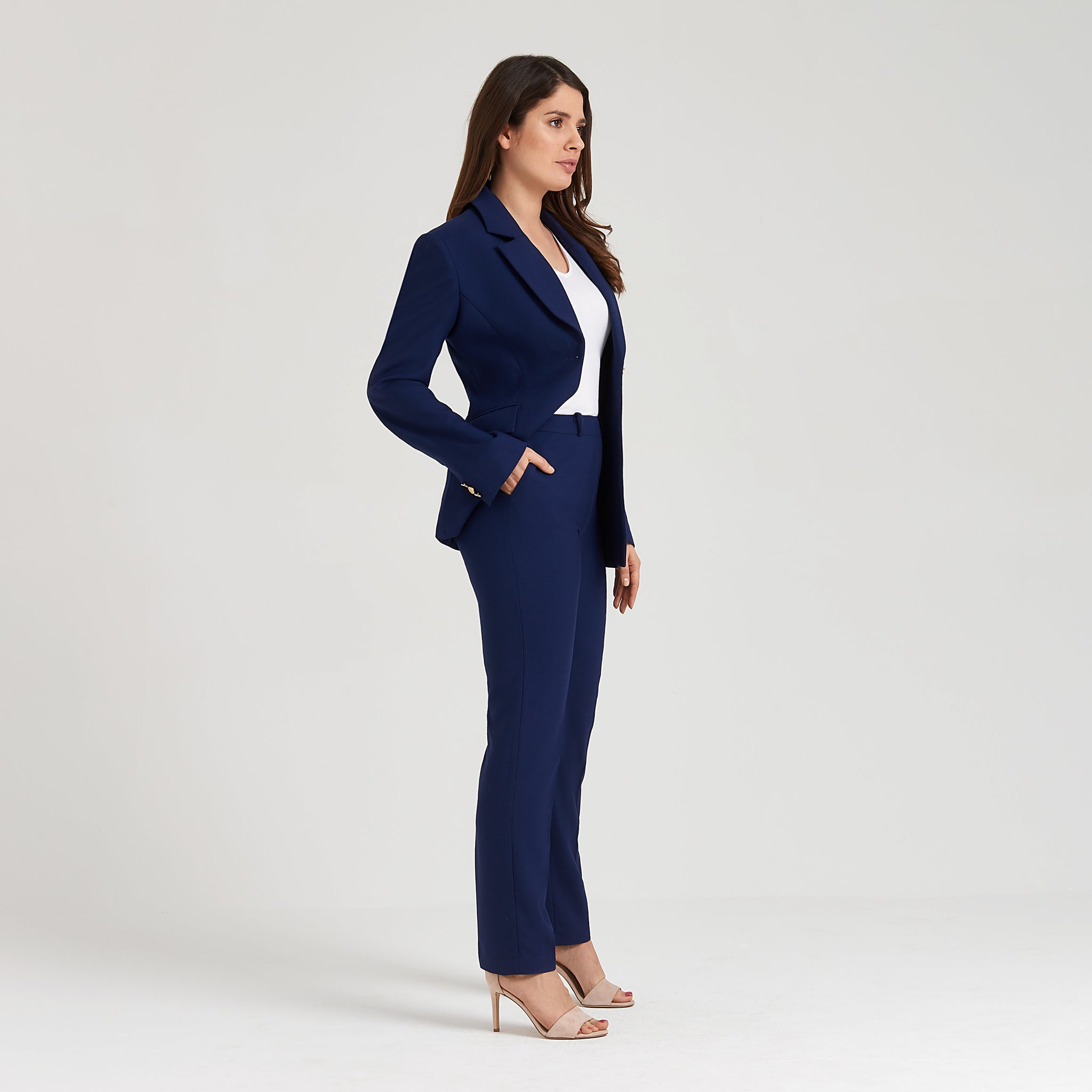 Breathable stretch wool blazer, blue