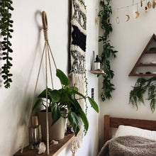 Load image into Gallery viewer, plants bohemian modern home decor wood shelf macrame wall hanging triangle moon phases