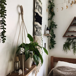 plants bohemian modern home decor wood shelf macrame wall hanging triangle moon phases