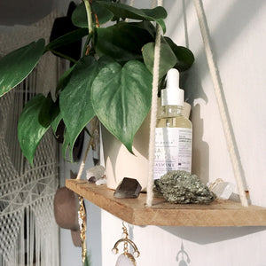 wood macrame wall shelf with plants apothecary crystals home decor wall decor macrame