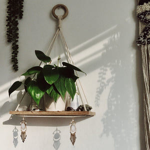 Bamboo Macrame Knotted Shelf