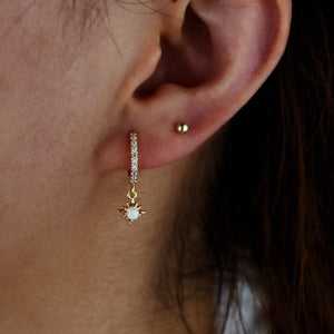 Opal Star Charm Earrings